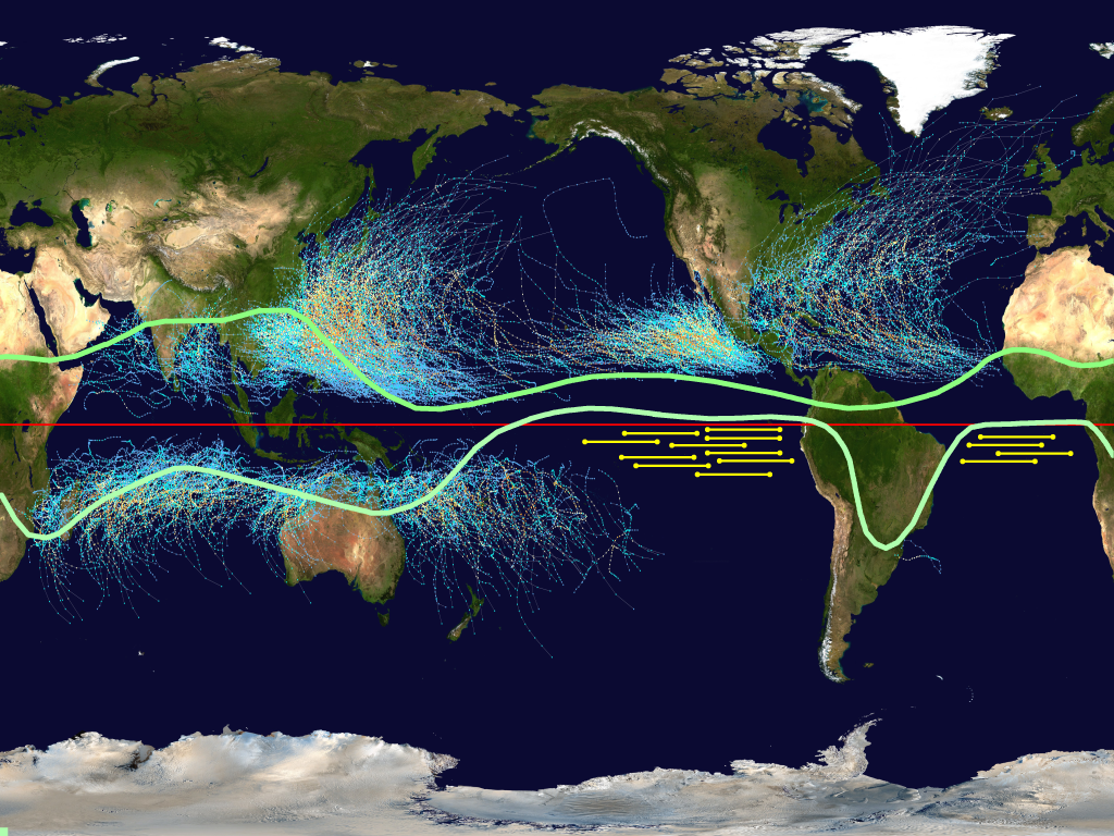 world map with hurricane tracks